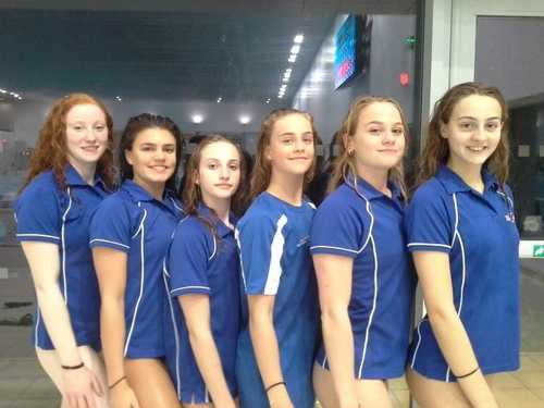 Swimmers from left to right: Cerys Hughes, Daniella Lloyd, Grace Cruickshank, Kate Shortman, Isabelle Thorpe, Greta Hampson
